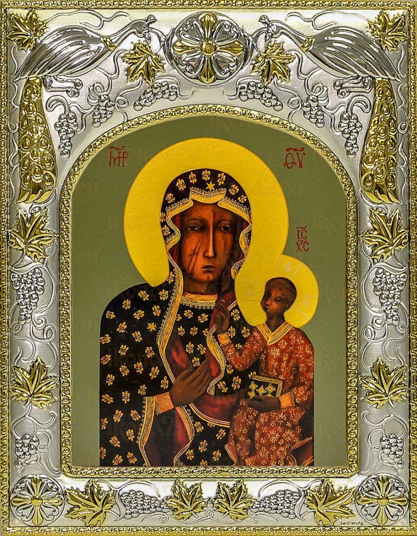 Ченстоховская икона БМ (14х18), серебро