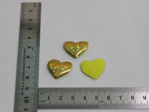 """Патч """"Сердце"""", 25*23 мм, цвет золото (1уп = 25шт)"""
