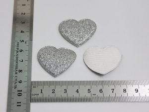 """`Патч """"Сердце"""", 35*32 мм, цвет серебро"""