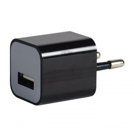 Вилка USB квадрат черный 1000 mA, 5V (ВНИМАНИЕ Американская вилка)
