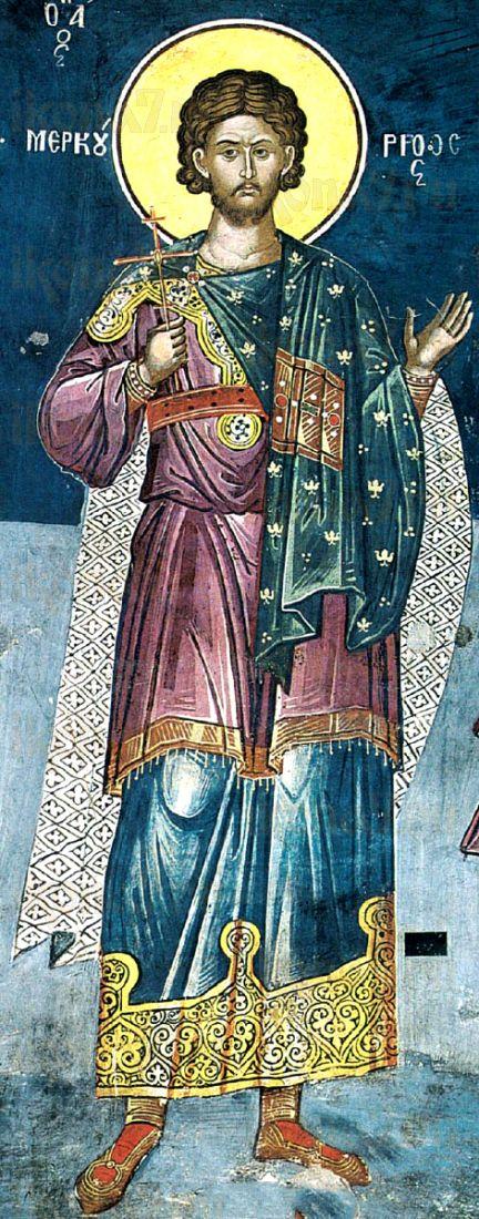 Меркурий Кесарийский (рукописная икона)