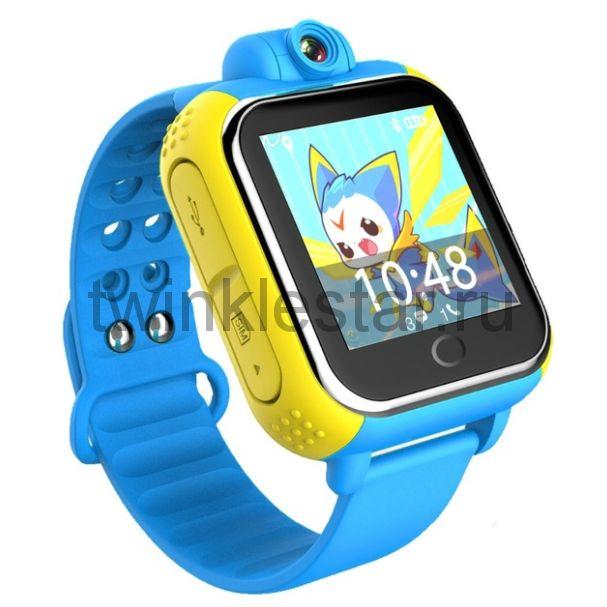 Умные детские часы с GPS Smart Baby Watch GW1000 (G75) желто-голубые