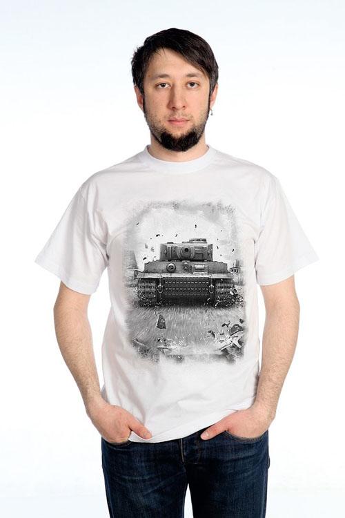 """Футболка мужская """"Танк"""", черно -белое изображение"""
