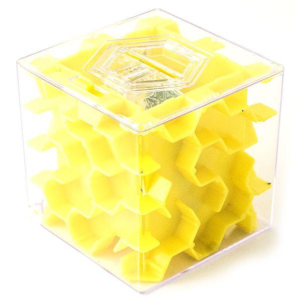 Копилка - головоломка Лабиринт New 65 мм желтая
