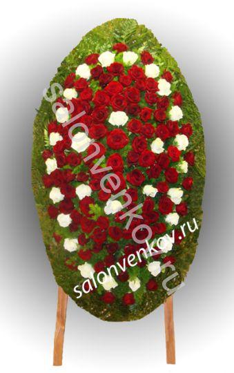 Элитный траурный венок из живых цветов №77, РАЗМЕР 100см,120см,140см,170см