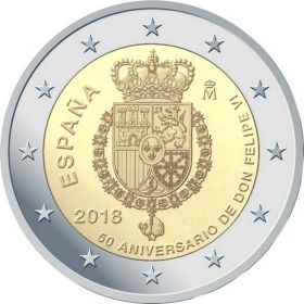 50 лет королю Филипу VI  2 евро Испания 2018