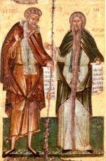 Давид Солунский и Пахомий (копия иконы 16 века)