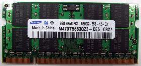 Модуль памяти Samsung  2GB 2Rx8 PC2-5300S 667Mhz M470T5663QZ3-CE6 SO-DIMM