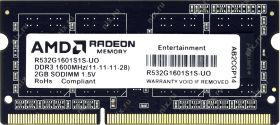 Модуль памяти AMD DDR3 1600 PC3-12800 SO-DIMM 2Gb R532G1601S1S-UO