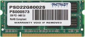 Модуль памяти Patriot DDR2 2GB SO-DIMM PC2-6400 PSD22G8002S