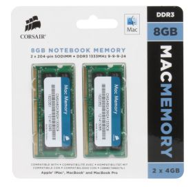 Модуль памяти Corsair Mac Memory 2x4GB KIT DDR3 SO-DIMM PC3-10600 1333Mhz CMSA8GX3M2A1333C9