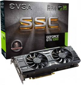 Видеокарта EVGA GeForce GTX 1060 1607Mhz PCI-E 3.0 6144Mb  192 bit SSC Gaming 06g-p4-6267-kr
