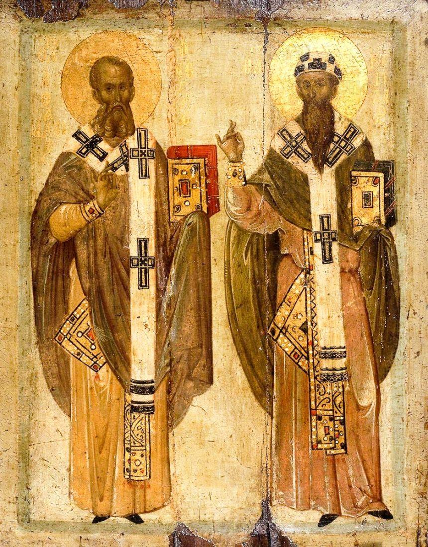 Икона Афанасий и Кирилл Александрийские (копия старинной)