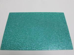 """Фоамиран """"глиттерный"""" с клеевой основой, Китай, толщина 2 мм, размер 20x30 см, цвет бирюзовый (1уп = 5листов)"""
