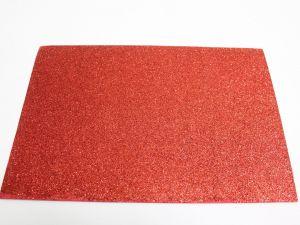 """`Фоамиран """"глиттерный"""" с клеевой основой, Китай, толщина 2 мм, размер 20x30 см, цвет красный"""