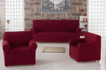 "Набор чехлов для дивана ""KARNA"" MILANO + 2 кресла (бордовый) Арт.2683-3"