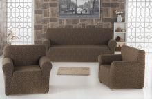 "Набор чехлов для дивана ""KARNA"" MILANO + 2 кресла (коричневый) Арт.2683-5"