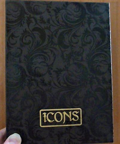 Коробка для иконы коричневого цвета с узорами и надписью Icons