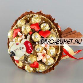 """Букет из конфет с мишкой №671 """"Валентинов день"""""""