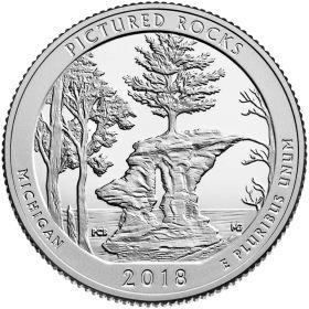 Национальное побережье живописных камней(Мичиган) 25 центов США 2017 Монетный Двор S