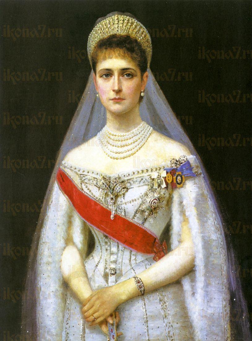 Икона Александра Федоровна Романова (портрет на дереве)