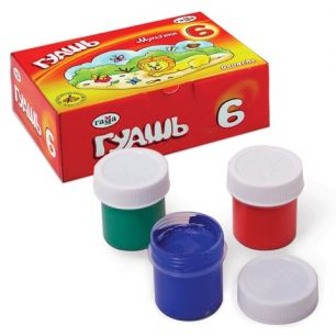 "Гуашь ГАММА ""Мультики"", 6 цветов по 20 мл, без кисти, картонная упаковка, 221030"