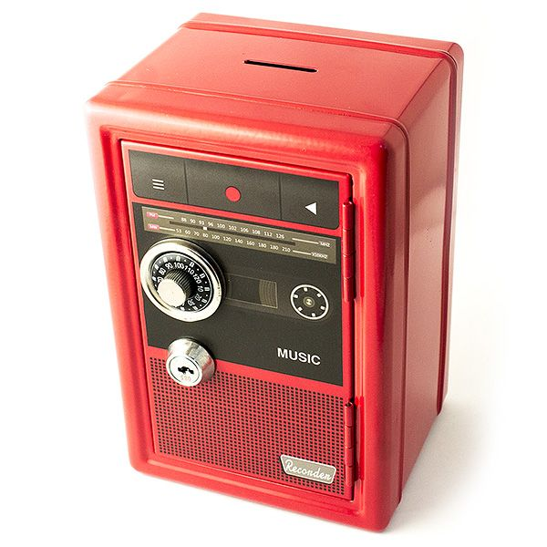 Копилка сейф с ключом Радио-ретро красная