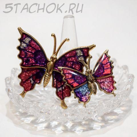 """Парные броши """"Лиловые бабочки"""" (США)"""