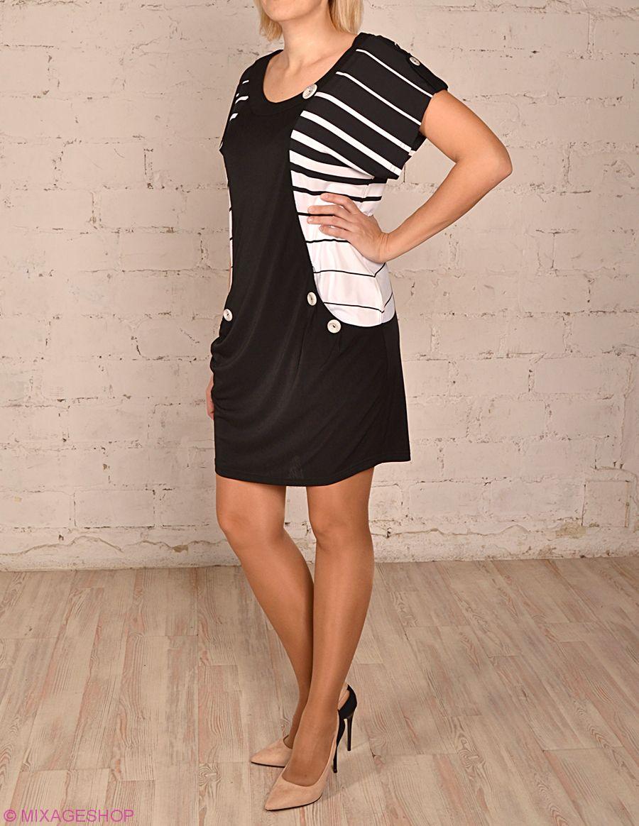 Платье-туника с коротким рукавом черно-белого цвета