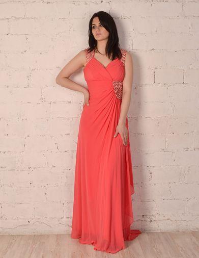 """Платье """"в пол"""" с расшитыми вставками по плечам и поясу"""