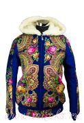 Куртка из павлопосадких платков с мехом