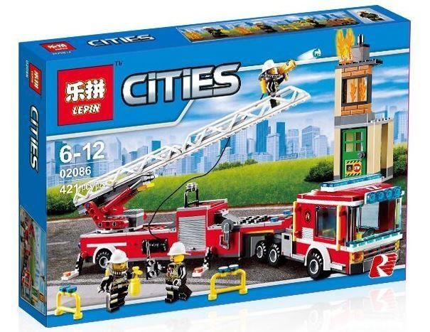 """LEPIN CITIES """" Пожарная машина """" 421 деталей NO.02086 ( CITY 60112 )"""