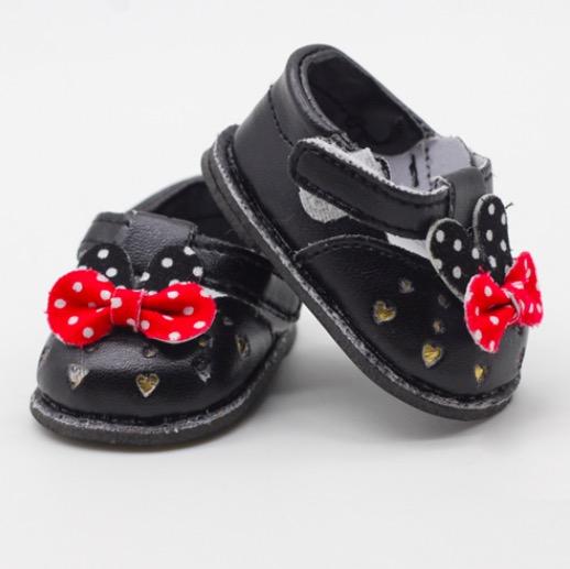 Обувь для кукол 6,5 см - сандалики черные с бантиком