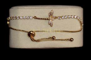 """Позолоченный браслет """"Стрекоза"""" с искусственными бриллиантами (арт. 305125)"""