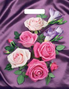"""Пакет с  прор. ручкой 31*40 см """"Атласные розы"""" ламинир.  60 мкм 50 шт."""