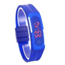 Спортивные силиконовые LED часы браслет синие