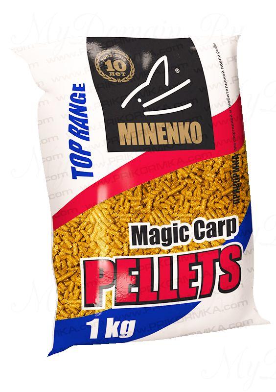 Прикормка МИНЕНКО Magic Carp Pellets (Персик), диаметр 10 мм, вес 1 кг