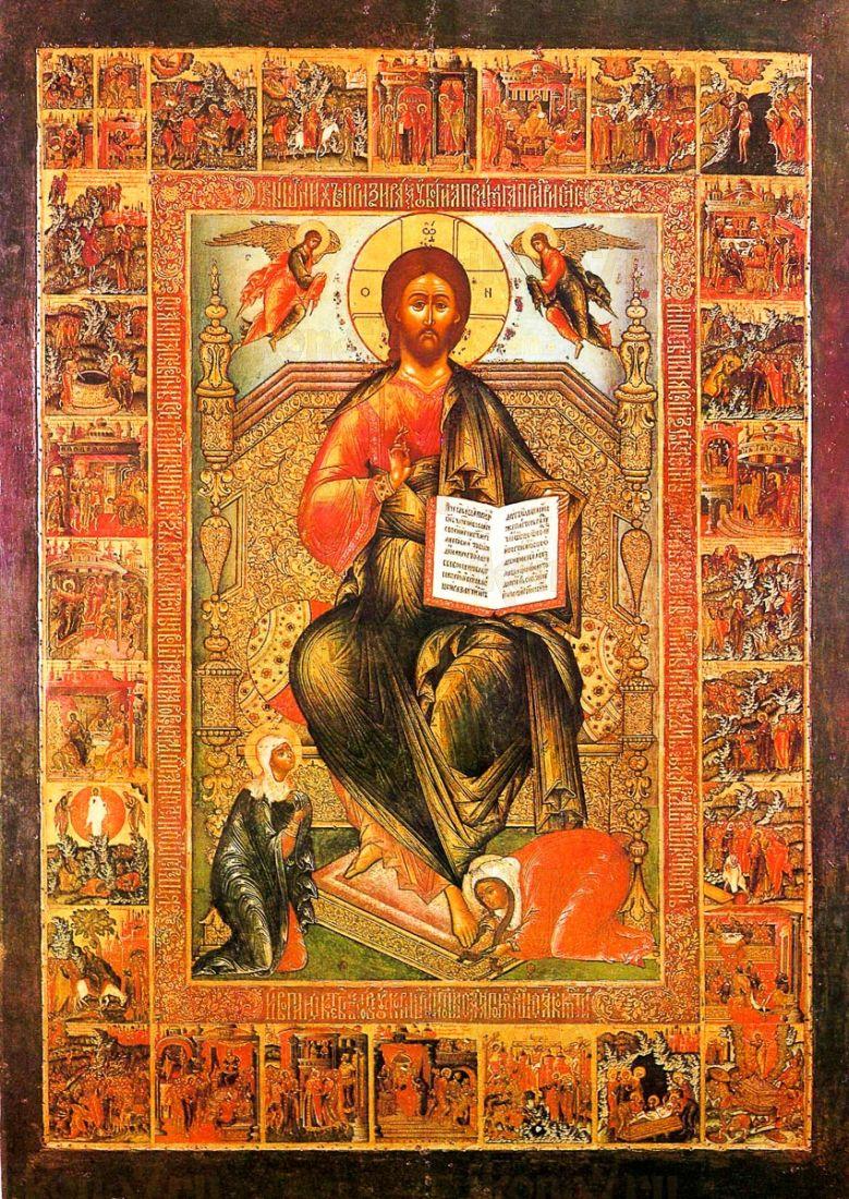 Икона Спас на престоле (копия старинной)