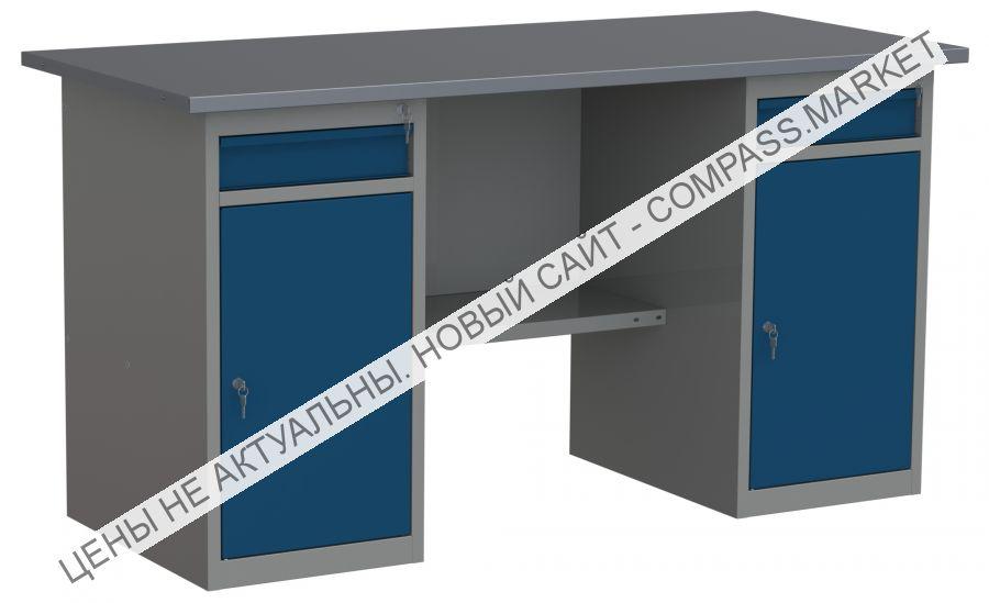 Верстак с двумя тумбами с дверцами и ящиками