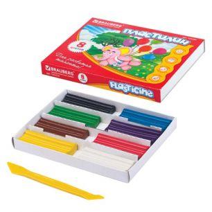 Пластилин классический BRAUBERG, 8 цветов, 160 г, со стеком, картонная упаковка, 103254