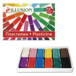 """Пластилин классический ГАММА """"Illusion"""", 12 цветов, 168 г, картонная упаковка, 280003"""