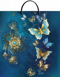 """Пакет с пластиковой ручкой  40х44 см """"Золотые бабочки""""  10 шт. 100 мкм"""