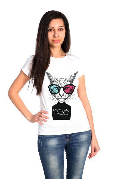 Кот футболка женская белая