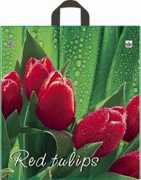 """Пакет с петл. ручкой  42х44 см """"Красный тюльпан""""  25 шт. 35 мкм ПВД"""