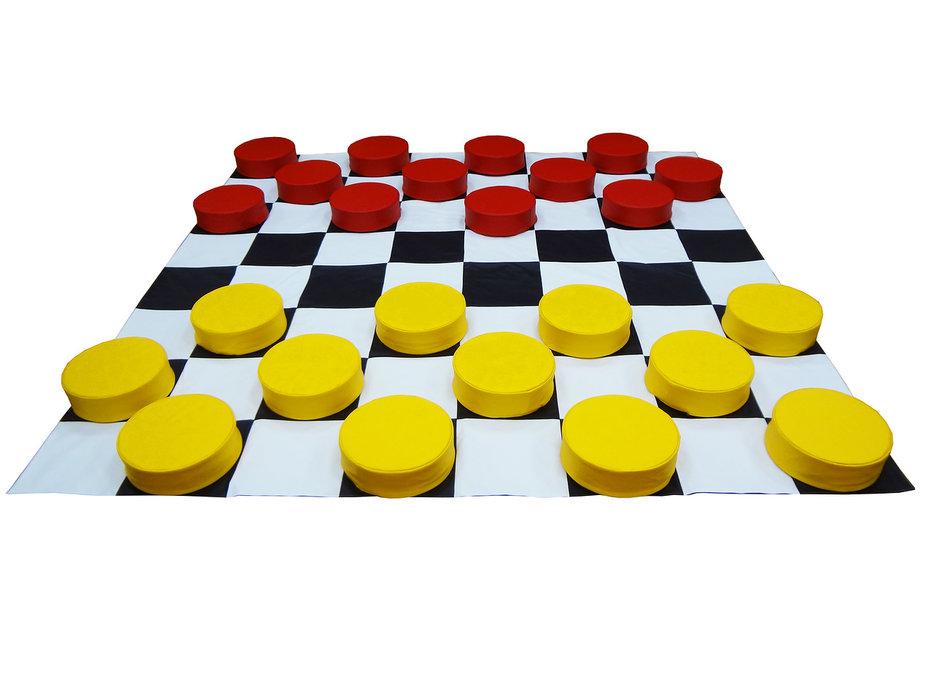 """Игровой набор """"Шашки-великаны"""". 24 шашки + поле 2,4 м."""