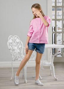 Блузка для девочки розовая с застежкой на цветные пуговки