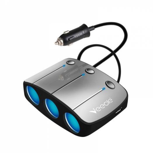 Разветвитель авто VEECLE KY-548 (3 гнезда+2*USB)
