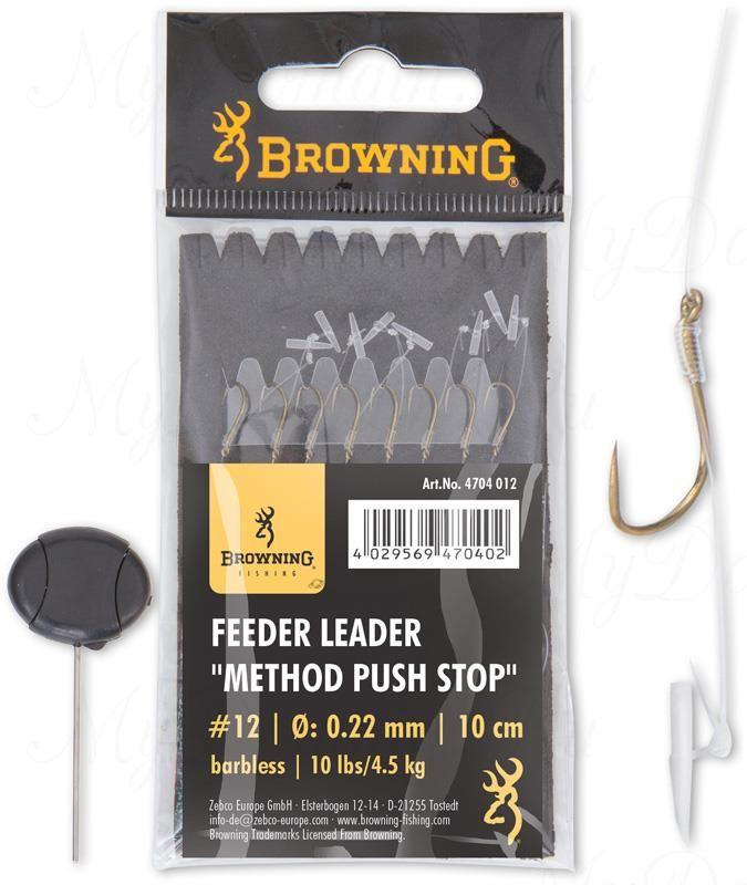Крючки с поводками Browning Leader Feeder Method Push Stop с фиксатором  для насадки (игла в комплекте) №10 0,22mm 10cm 6 шт