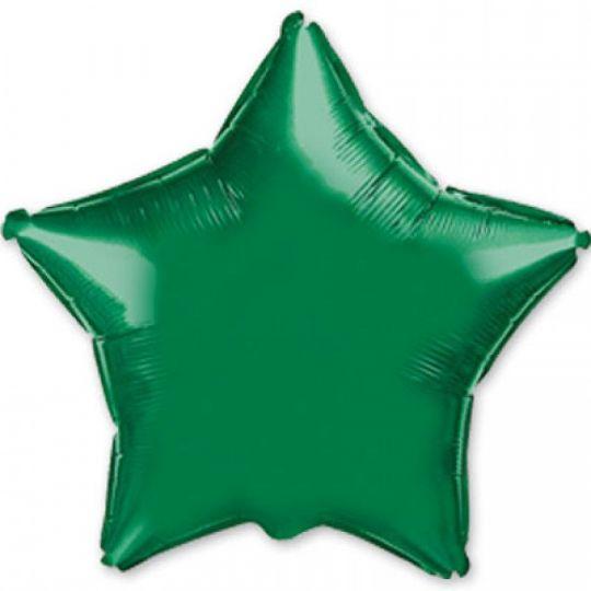 Звезда зеленая большая шар фольгированный с гелием