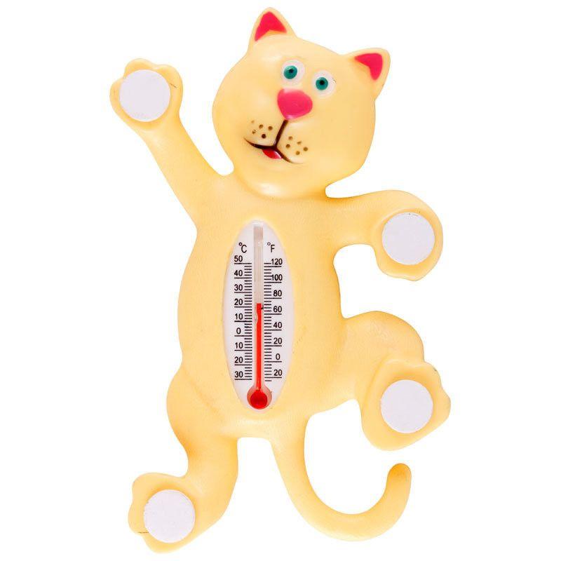 Термометр оконный на липучках котик